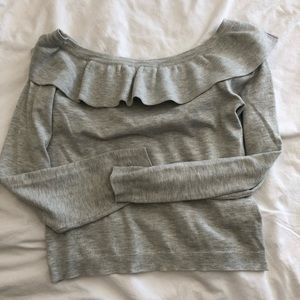 Divided Sweaters - Off shoulder gray sweater